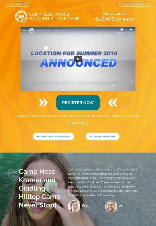WBT Camps Landing Page